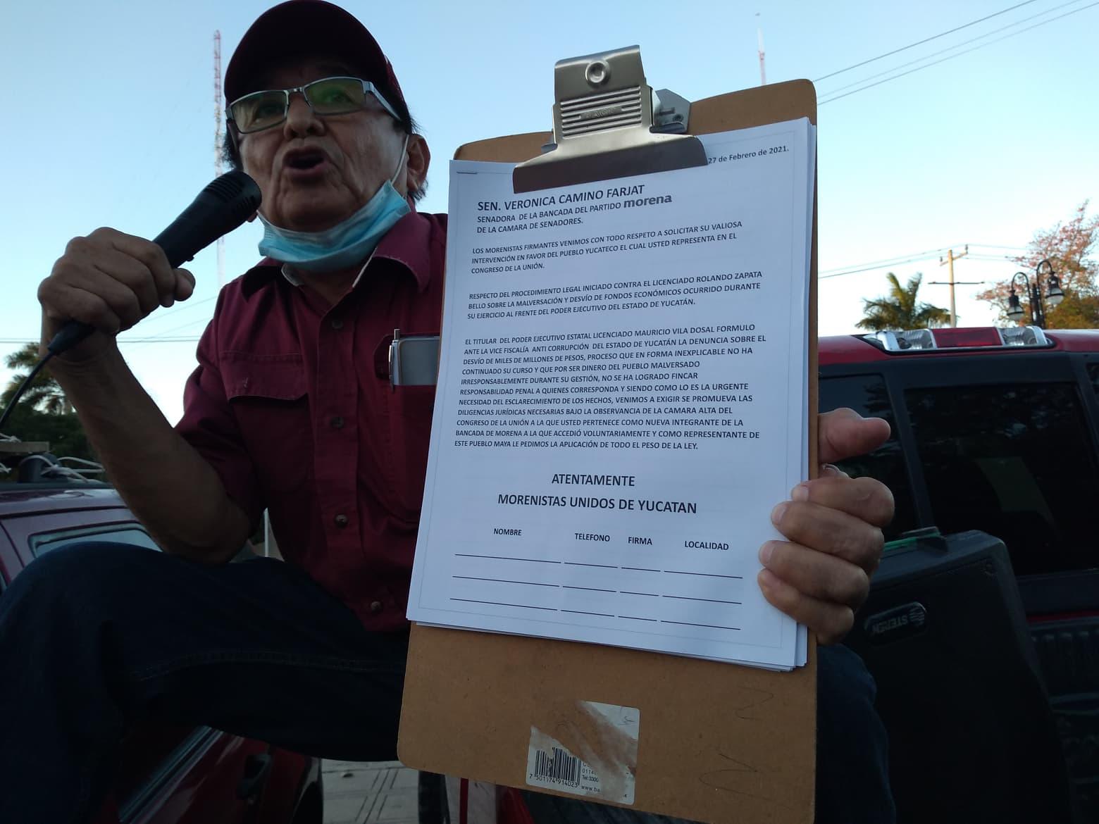 UN GRUPO DE MORENISTAS YUCATECOS MARCHAN EN CONTRA DE LAS DECISIONES DEL CEN